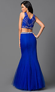 Image of two-piece long mermaid prom dress with beaded top. Style: NA-8156 Back Image