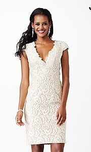 Image of short lace v-neck cap sleeve dress Style: JO-JVN-JVN27493 Front Image