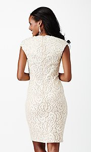Image of short lace v-neck cap sleeve dress Style: JO-JVN-JVN27493 Back Image