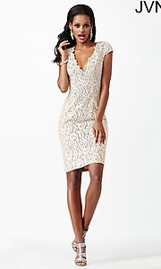 Image of short lace v-neck cap sleeve dress Style: JO-JVN-JVN27493 Detail Image 1