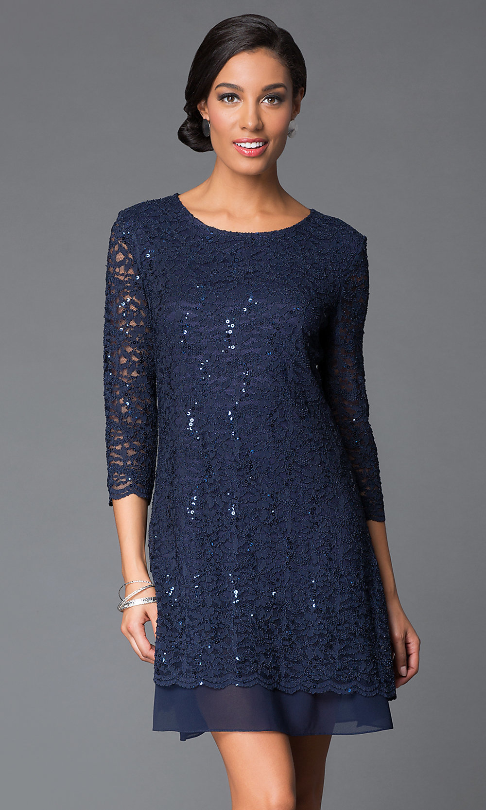 Sequin lace shift dress with sleeves promgirl for Cocktail dress with sleeves for wedding