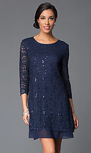 Image of sequined-lace shift dress with sleeves by Tiana B Style: JU-TI-87663 Front Image