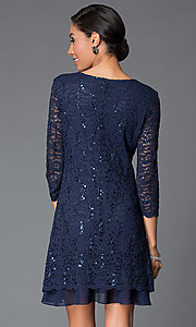 Image of sequined-lace shift dress with sleeves by Tiana B Style: JU-TI-87663 Back Image