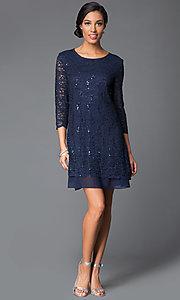 Image of sequined-lace shift dress with sleeves by Tiana B Style: JU-TI-87663 Detail Image 1
