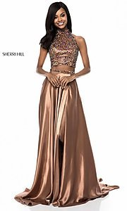 Image of long high neck two piece dress with side slit Style: SH-11330 Detail Image 2