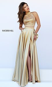 Image of long high neck two piece dress with side slit Style: SH-11330 Detail Image 1