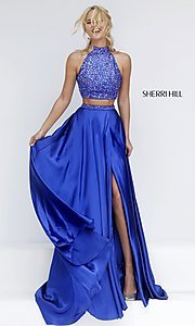 Long High Neck Two Piece Sherri Hill Dress with Side Slit