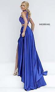 Image of long high neck two piece dress with side slit Style: SH-11330 Back Image