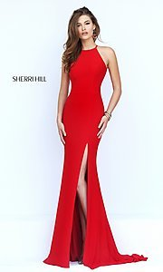 Long sleeveless open back side slit dress  Style: SH-32340 Front Image