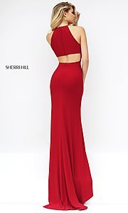 Long sleeveless open back side slit dress  Style: SH-32340 Back Image