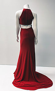 Image of red long sleeveless prom dress with open back. Style: SH-32340 Back Image