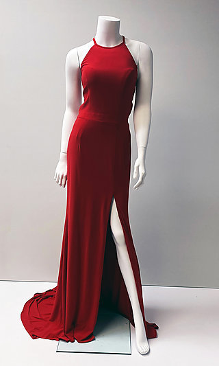 Red Long Sleeveless Prom Dress with Open Back