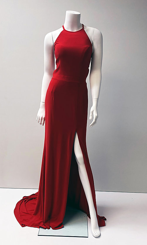Image of red long sleeveless prom dress with open back. Style: SH-32340 Front Image