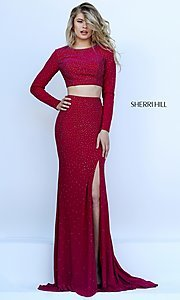 Two Piece Long Sleeve Sherri Hill Dress with Side Slit