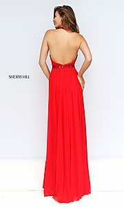 Image of long high-neck pleated halter dress Style: SH-50089 Back Image