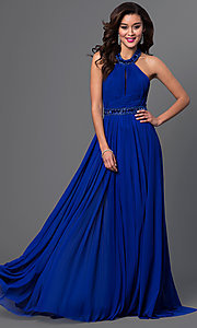 Image of long high-neck pleated halter dress Style: SH-50089 Front Image