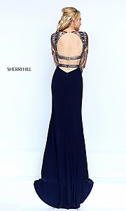 Image of two piece long sleeve beaded top floor length dress Style: SH-50097 Back Image