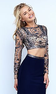 Image of two-piece long sleeve beaded top floor-length dress Style: SH-50097 Detail Image 1