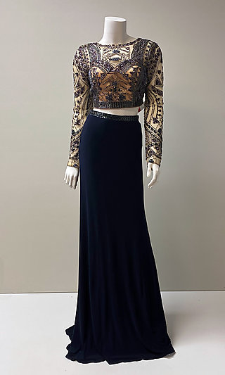 Long Navy Two-Piece Beaded Crop-Top Prom Dress