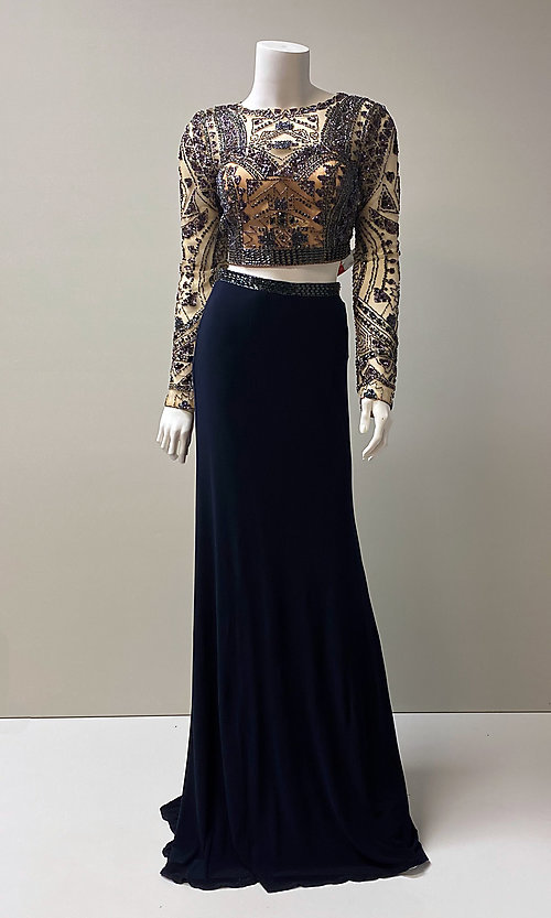 Image of long navy two-piece beaded crop-top prom dress. Style: SH-50097 Front Image