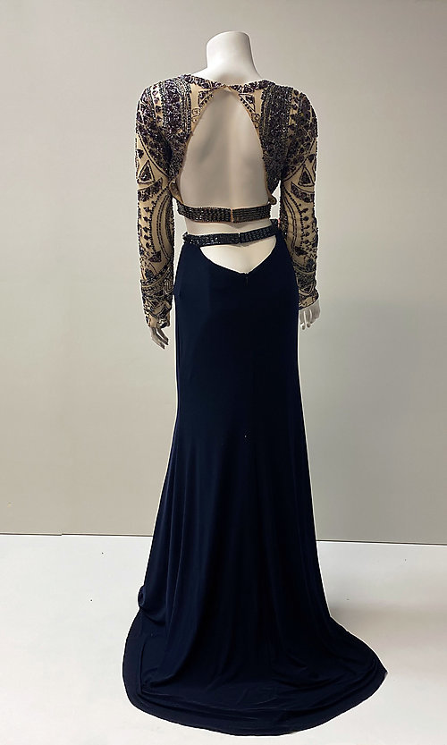 Image of long navy two-piece beaded crop-top prom dress. Style: SH-50097 Back Image