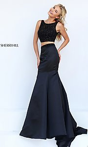 Image of floor length two piece black dress Style: SH-50098 Front Image