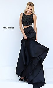 Image of floor length two piece black dress Style: SH-50098 Detail Image 1