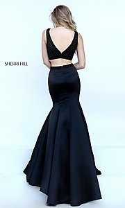 Image of floor length two piece black dress Style: SH-50098 Detail Image 2