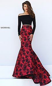 Image of long floral print off the shoulder dress Style: SH-50127 Front Image