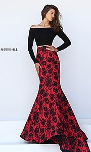 Image of long floral print off the shoulder dress Style: SH-50127 Detail Image 1