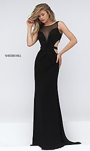 Image of sleeveless long black beaded bodice back and side cut out dress  Style: SH-50163 Front Image