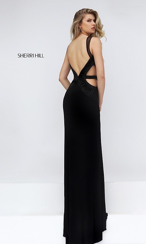 Image of sleeveless long black beaded bodice back and side cut out dress  Style: SH-50163 Back Image