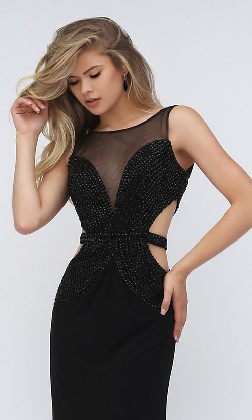 Image of sleeveless long black beaded bodice back and side cut out dress  Style: SH-50163 Detail Image 1