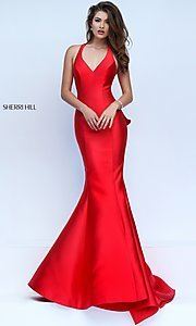 Image of long sleeveless v-neck dress Style: SH-50195 Back Image