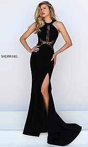 Image of long black thigh slit lace detailed bodice dress Style: SH-50201 Front Image