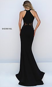 Image of long black thigh slit lace detailed bodice dress Style: SH-50201 Back Image