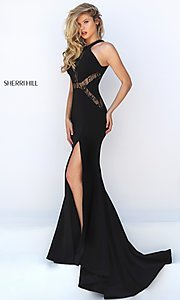 Image of long black thigh slit lace detailed bodice dress Style: SH-50201 Detail Image 2