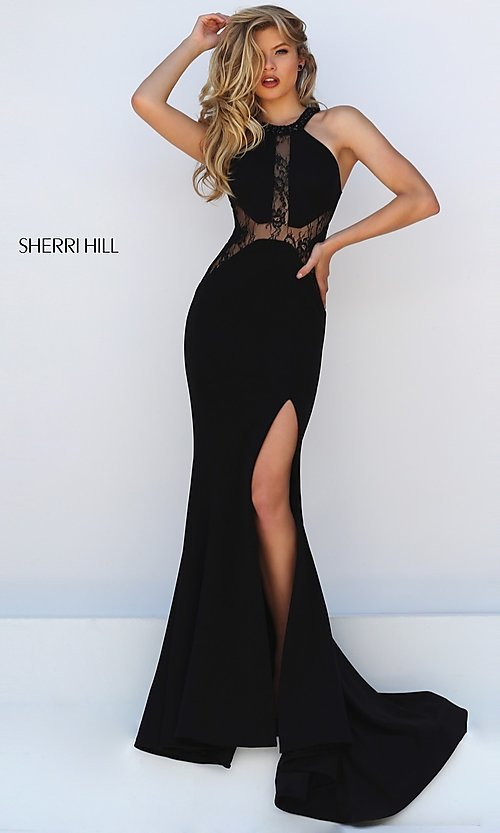 Image of long black thigh slit lace detailed bodice dress Style: SH-50201 Detail Image 1