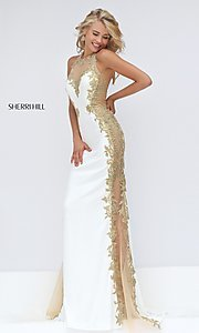 Image of ivory and gold embroidered dress by Sherri Hill. Style: SH-50247 Front Image