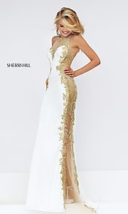 Image of ivory and gold embroidered dress by Sherri Hill. Style: SH-50247 Detail Image 1