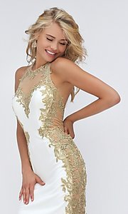 Image of ivory and gold embroidered dress by Sherri Hill. Style: SH-50247 Detail Image 2