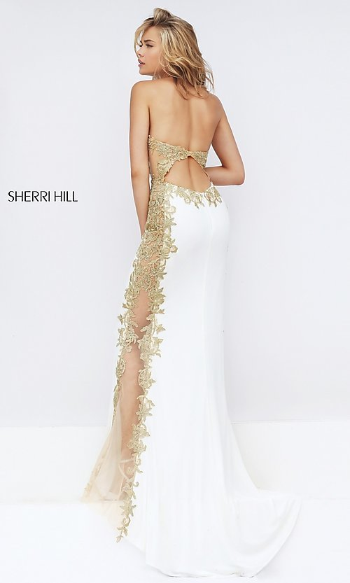Image of ivory and gold embroidered dress by Sherri Hill. Style: SH-50247 Back Image