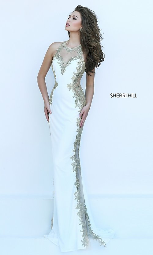 Image of ivory and gold embroidered dress by Sherri Hill. Style: SH-50247 Detail Image 3