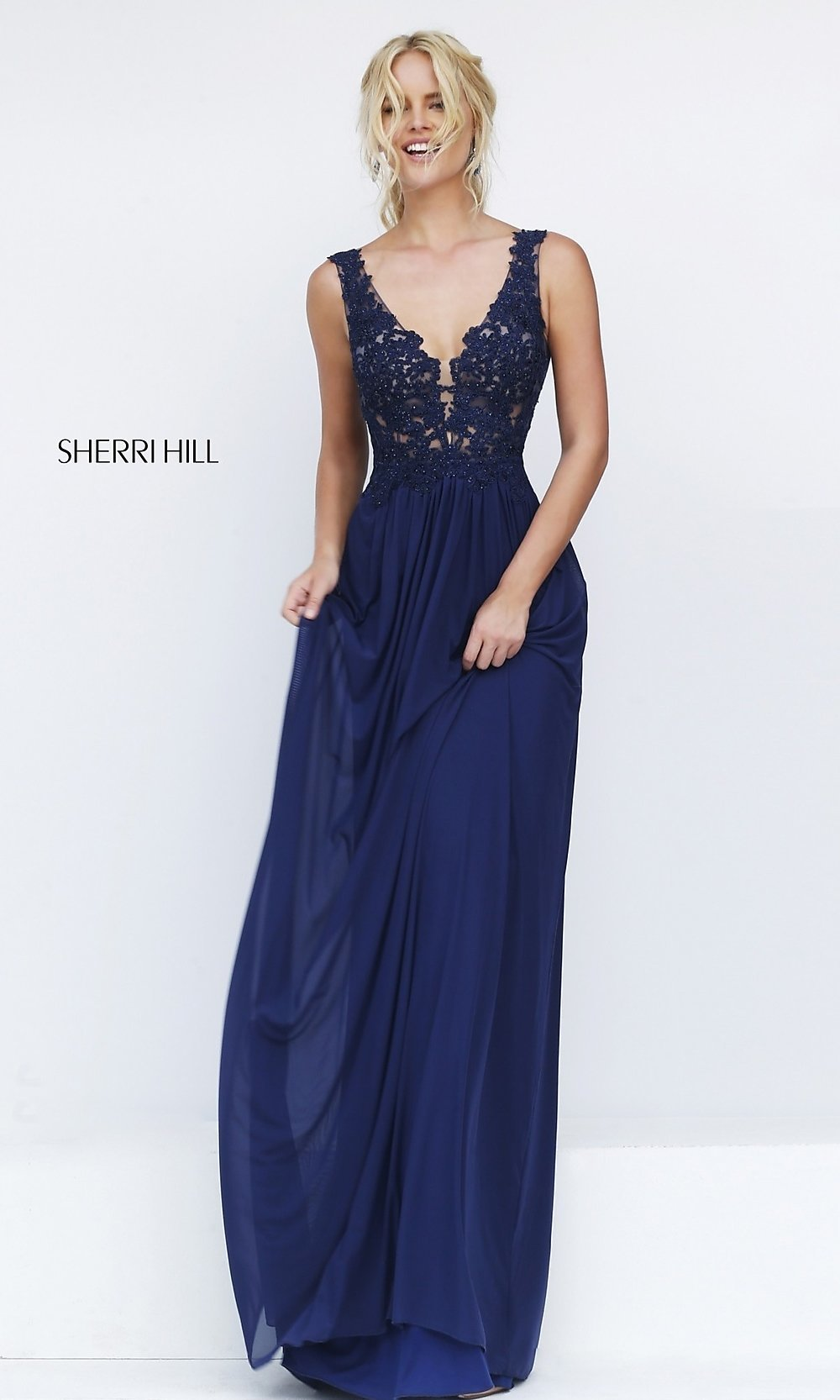 V-Neck Embroidered Bodice Dress-PromGirl