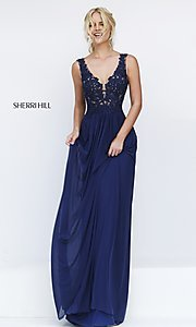 Sherri Hill Long V-Neck Embroidered Bodice Dress