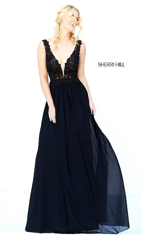 Image of long v-neck embroidered bodice gown  Style: SH-50255 Detail Image 2