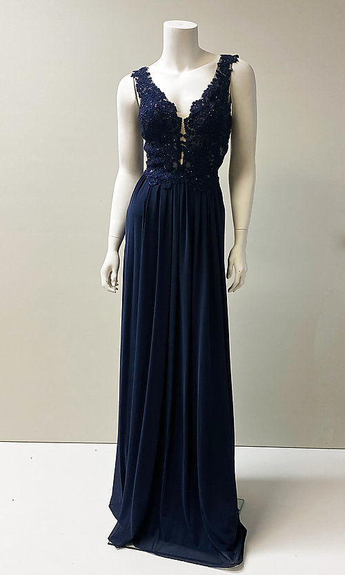 Image of long v-neck embroidered bodice chiffon prom dress.  Style: SH-50255 Detail Image 1
