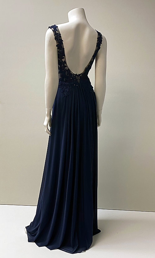 Image of long v-neck embroidered bodice chiffon prom dress.  Style: SH-50255 Detail Image 2