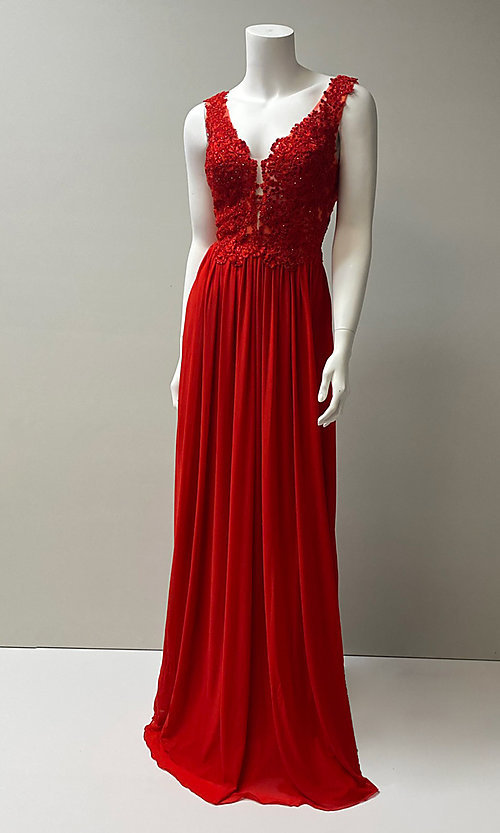 Image of long v-neck embroidered bodice chiffon prom dress.  Style: SH-50255 Front Image