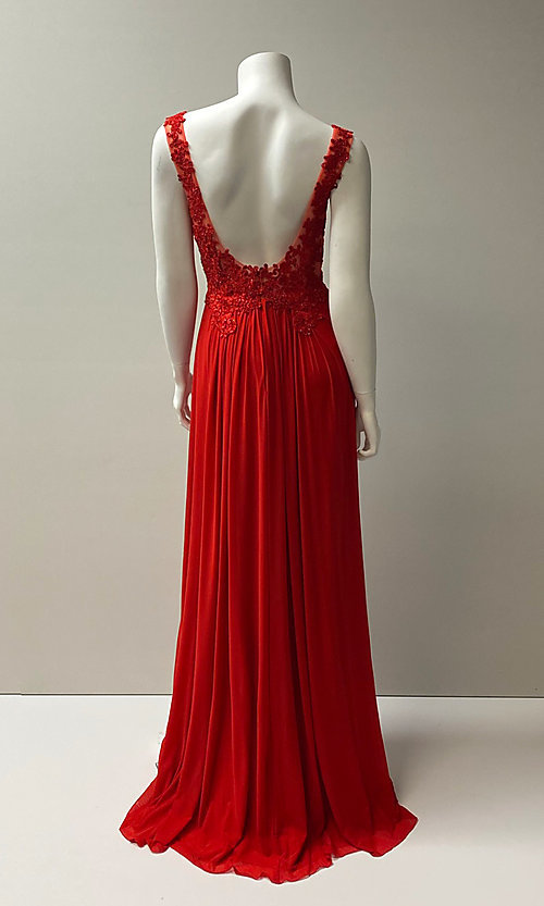 Image of long v-neck embroidered bodice chiffon prom dress.  Style: SH-50255 Back Image